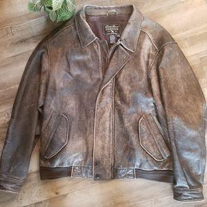 Eddie Bauer XXL Distressed Brown Leather jacket